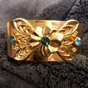 Vintage Gold Filled and Light Blue Rhinestone Cuff